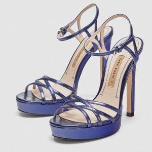 Zara Strappy Platform Heels Blue Size 10